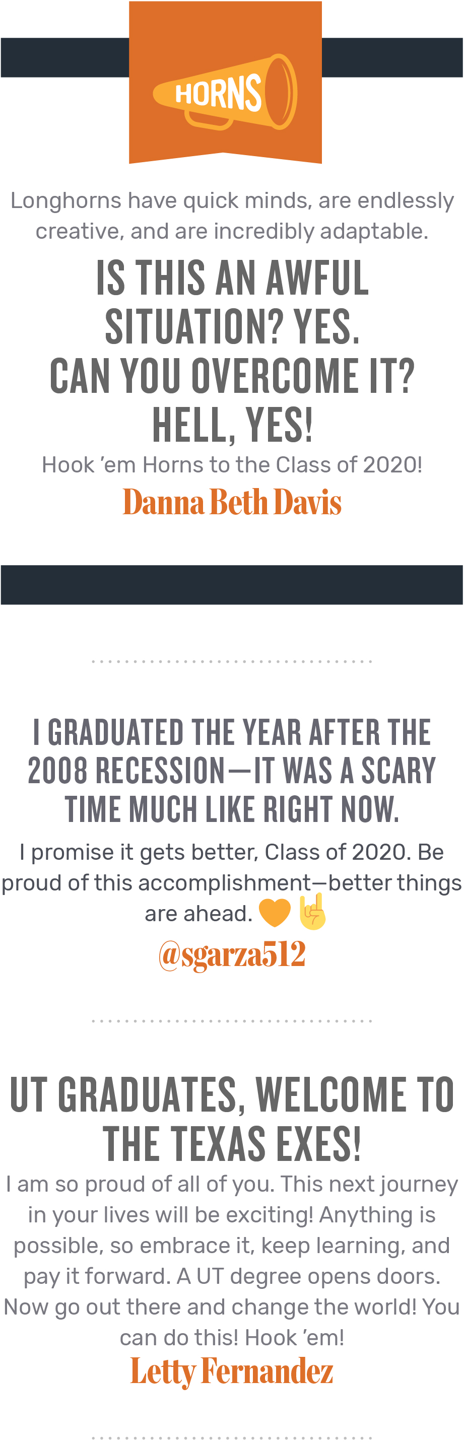 Messages for the Class of 2020