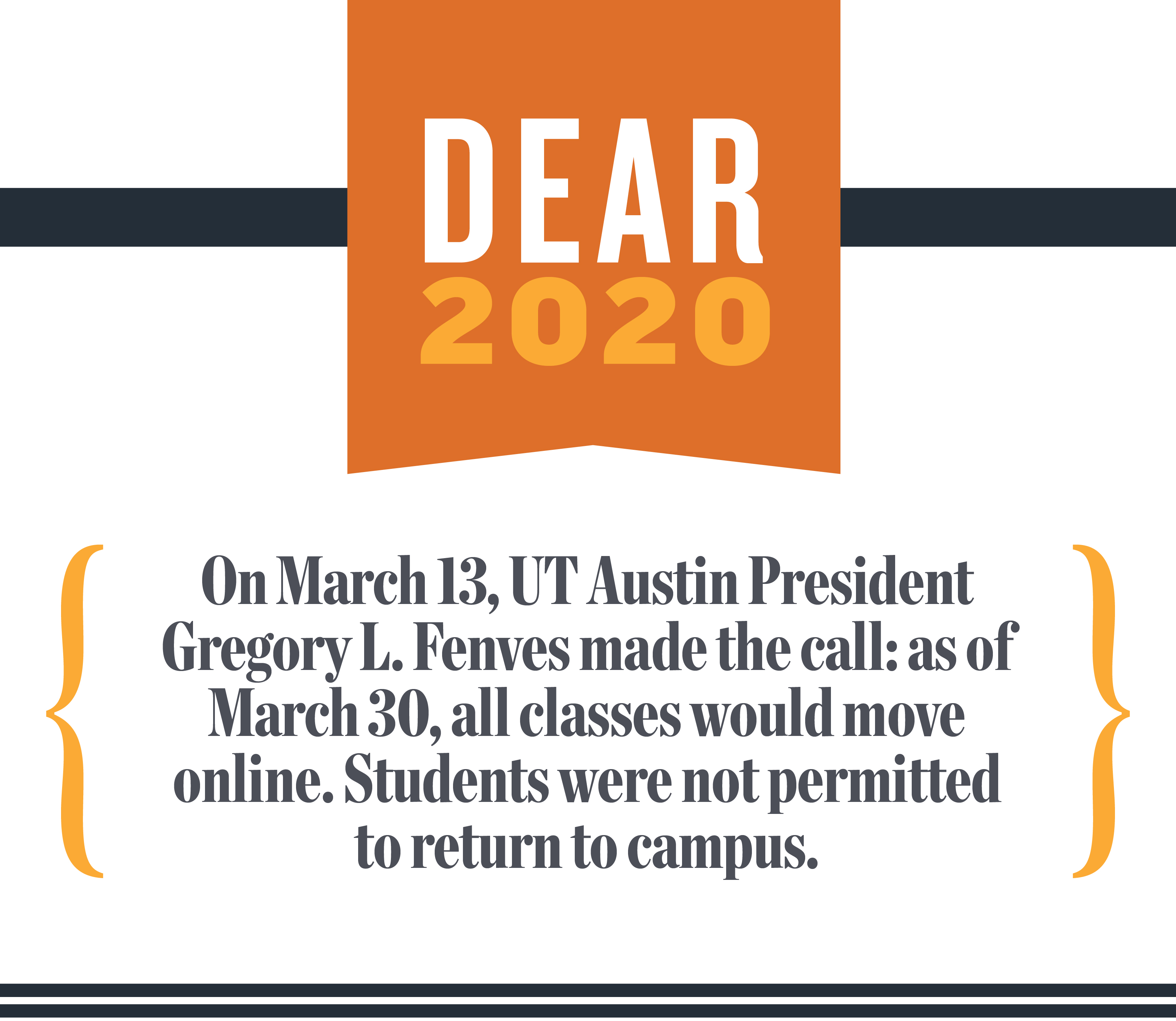 Dear Class of 2020. On March 13, UT Austin President Gregory L. Fenves made the call: as of March 30,  all classes would move online. Students were not permitted to return to campus.