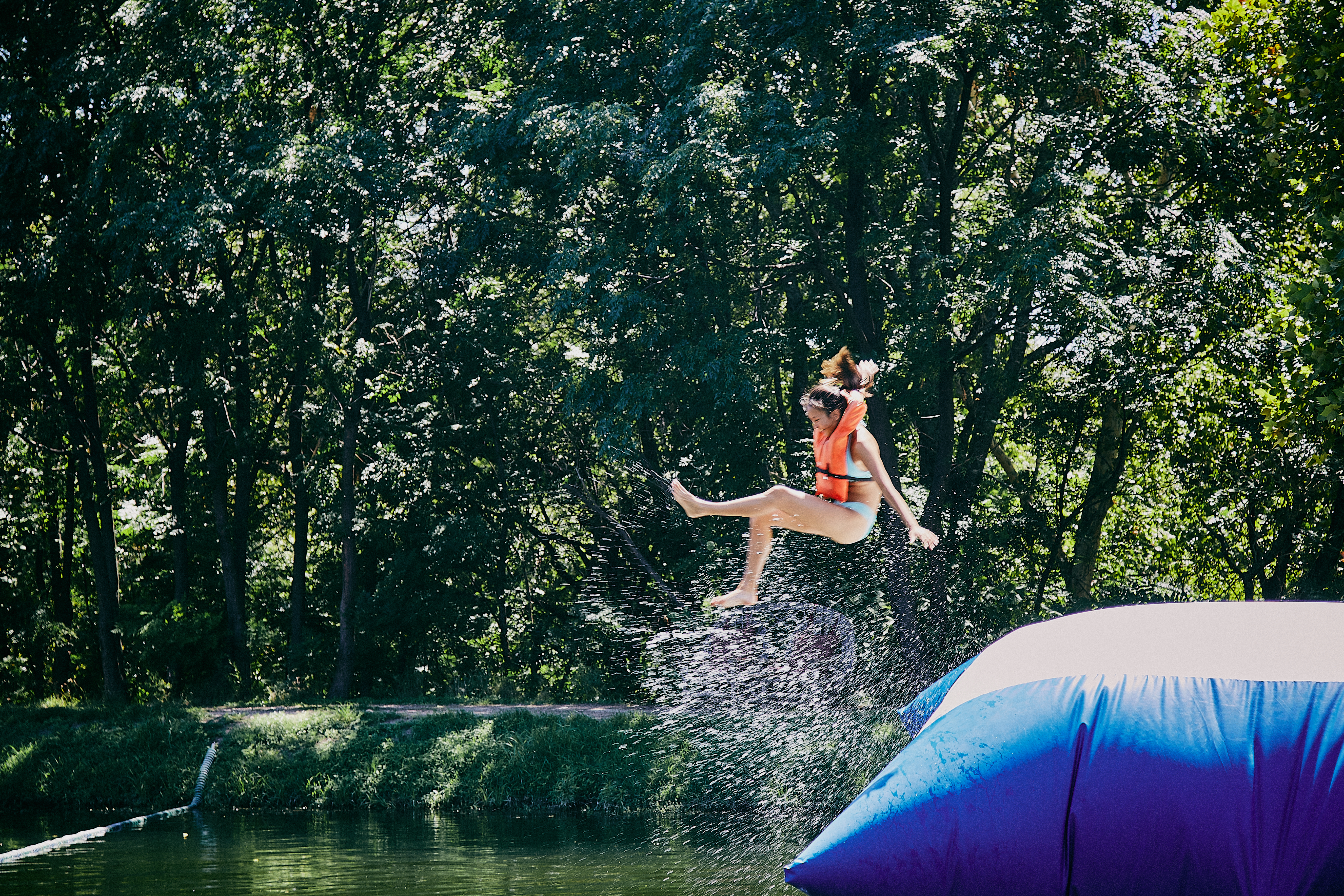 Camp Texas Camper Flying from a Water Blob