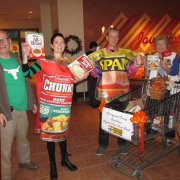 People Dressed as food at Food Drive