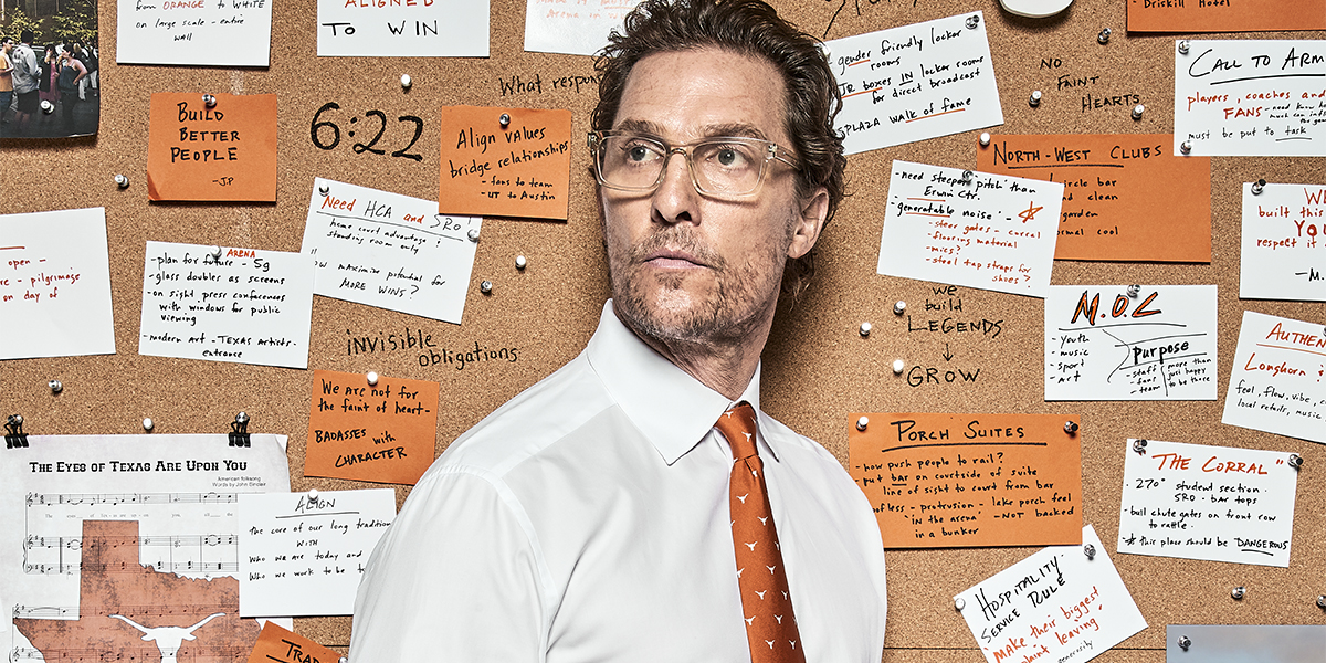 Minister of Culture Matthew McConaughey in front of his handwritten ideas for UT's new basketball arena.