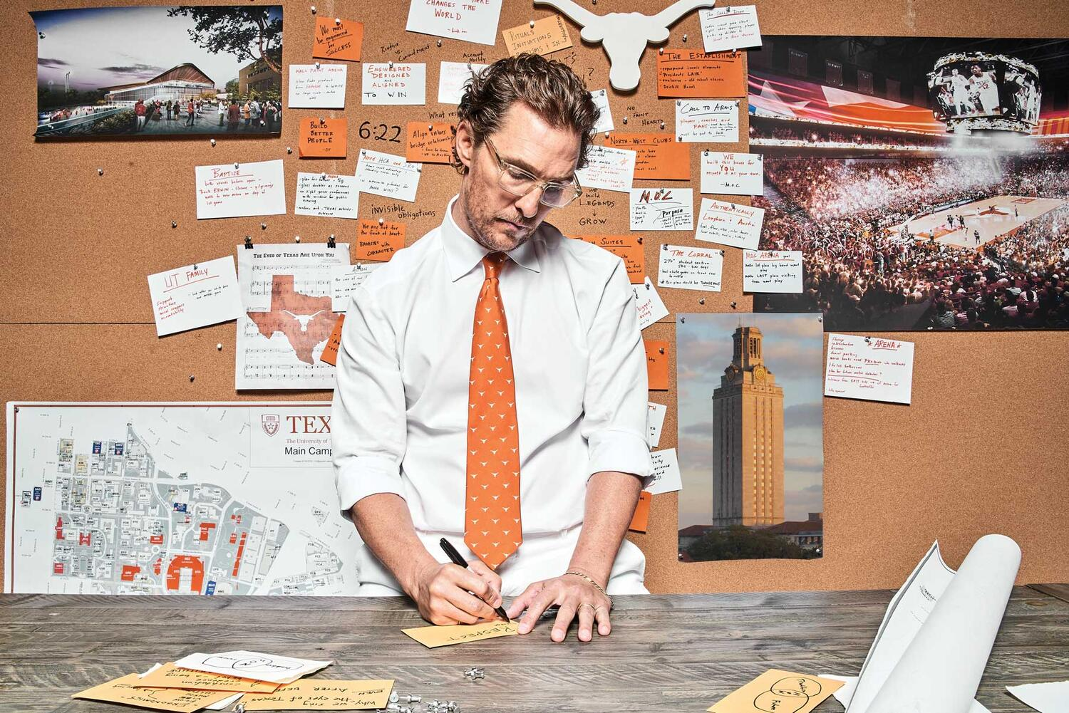 Matthew McConaughey wearing Longhorn Button-up With Tie